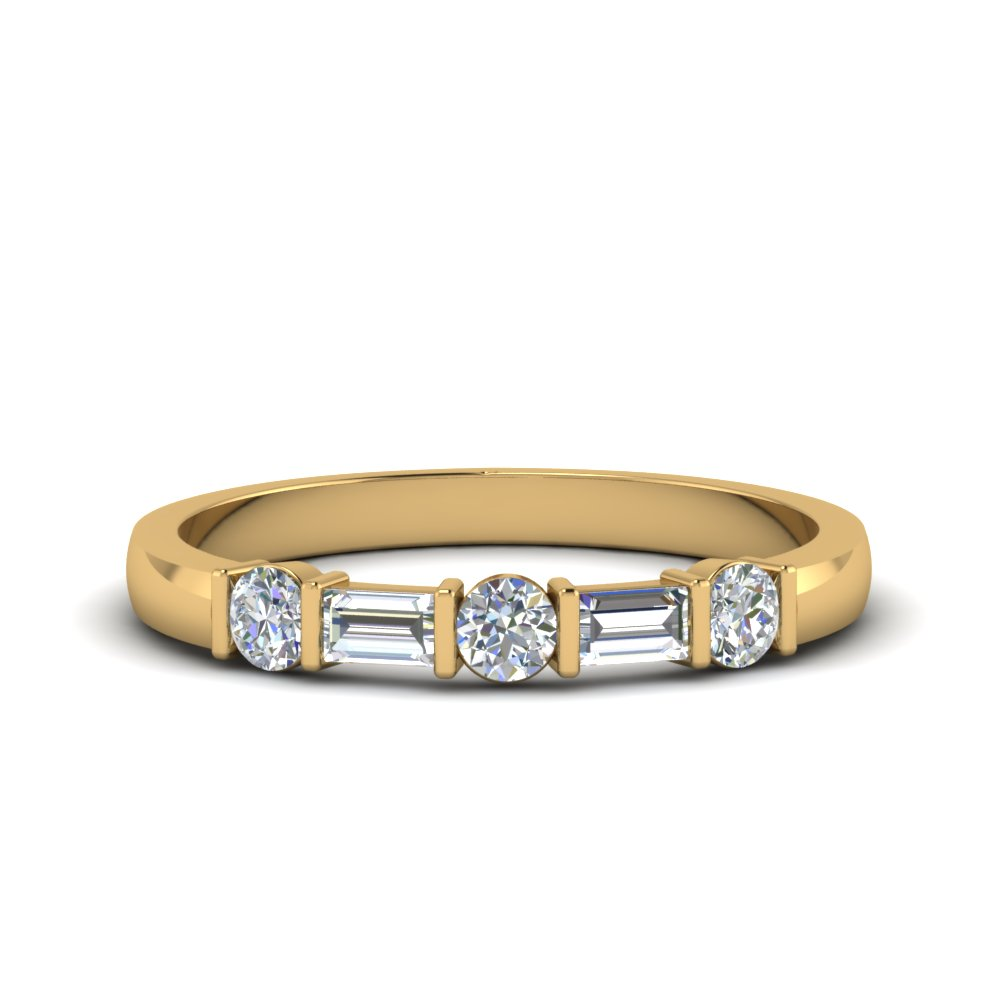 round and baguette diamond band in 18K yellow gold FDWB1912B NL YG