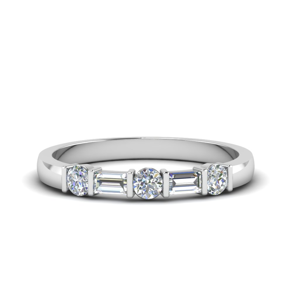 Round & Baguette Diamond Band