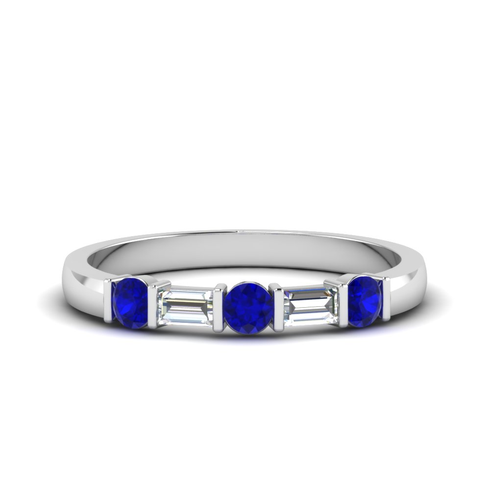 round and baguette diamond band with blue sapphire in 18K white gold FDWB1912BGSABL NL WG
