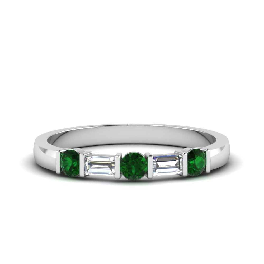 round and baguette diamond band with emerald in 14K white gold FDWB1912BGEMGR NL WG