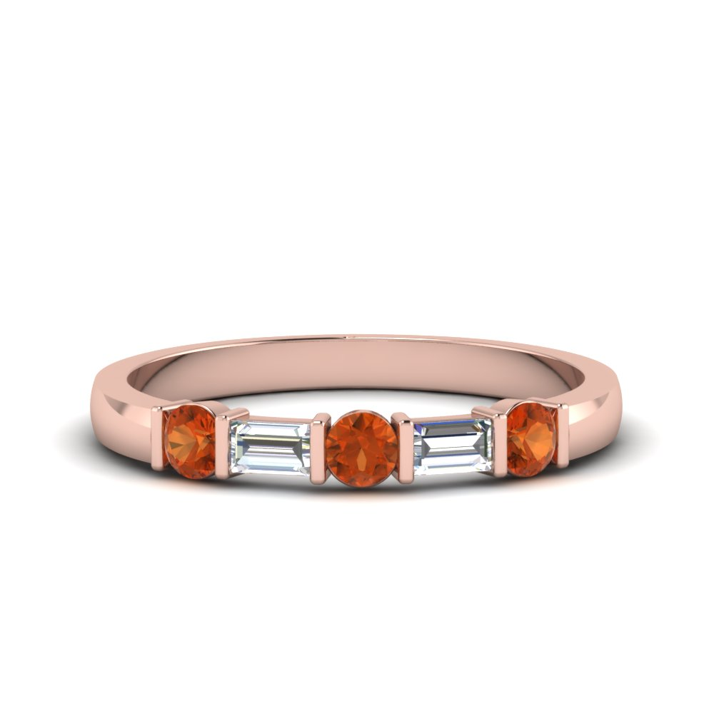Orange Sapphire Band With Baguette