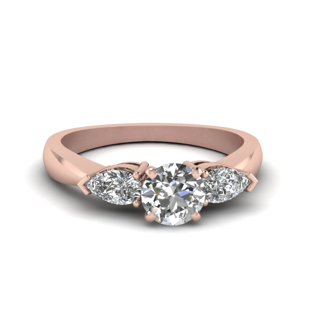 round cut diamond 3 stone engagement rings with white diamond in 14k rose gold