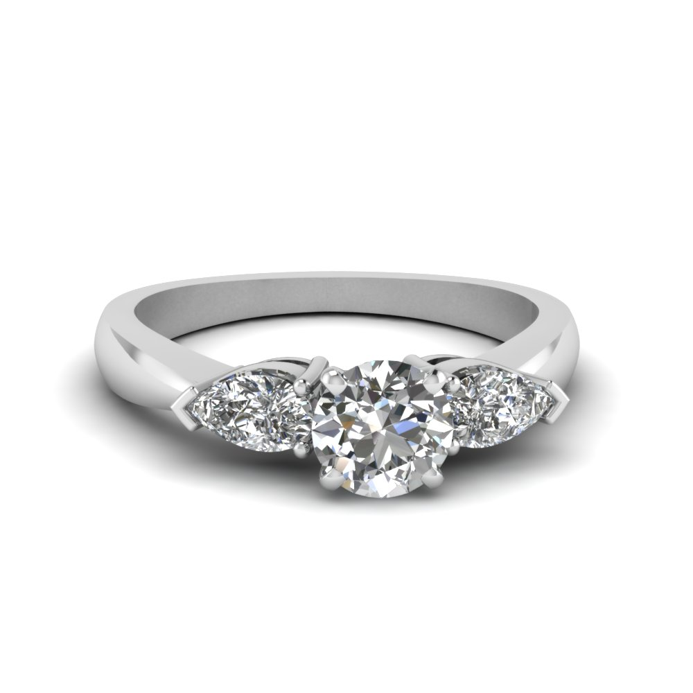 round and pear diamond 3 stone engagement ring in 14K white gold FDENR1603ROR NL WG