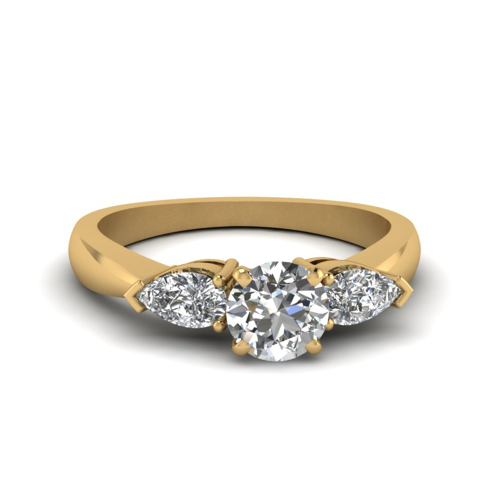 diamond ring yellow stone brilliant three cut gold jewellery bridal rings image