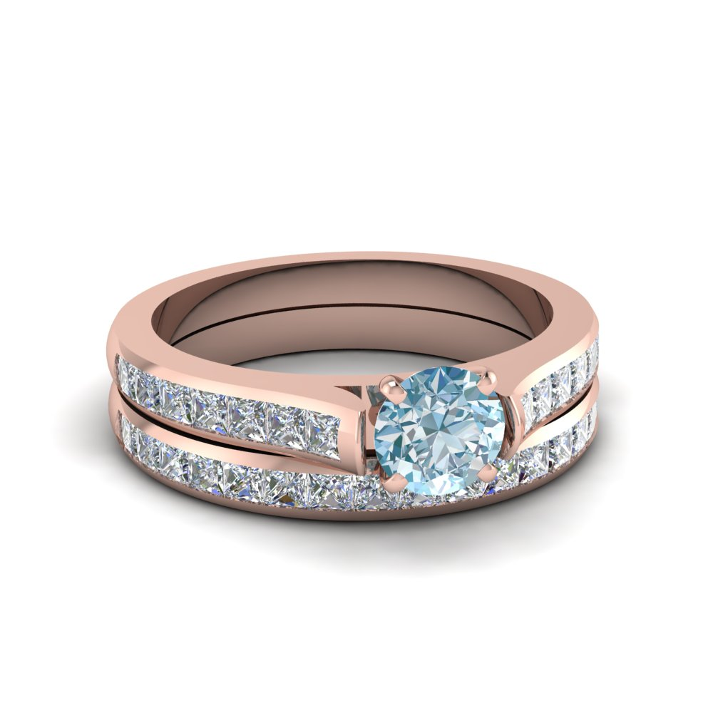 Cathedral Aquamarine Wedding Ring Set In 14K Rose Gold Fascinating