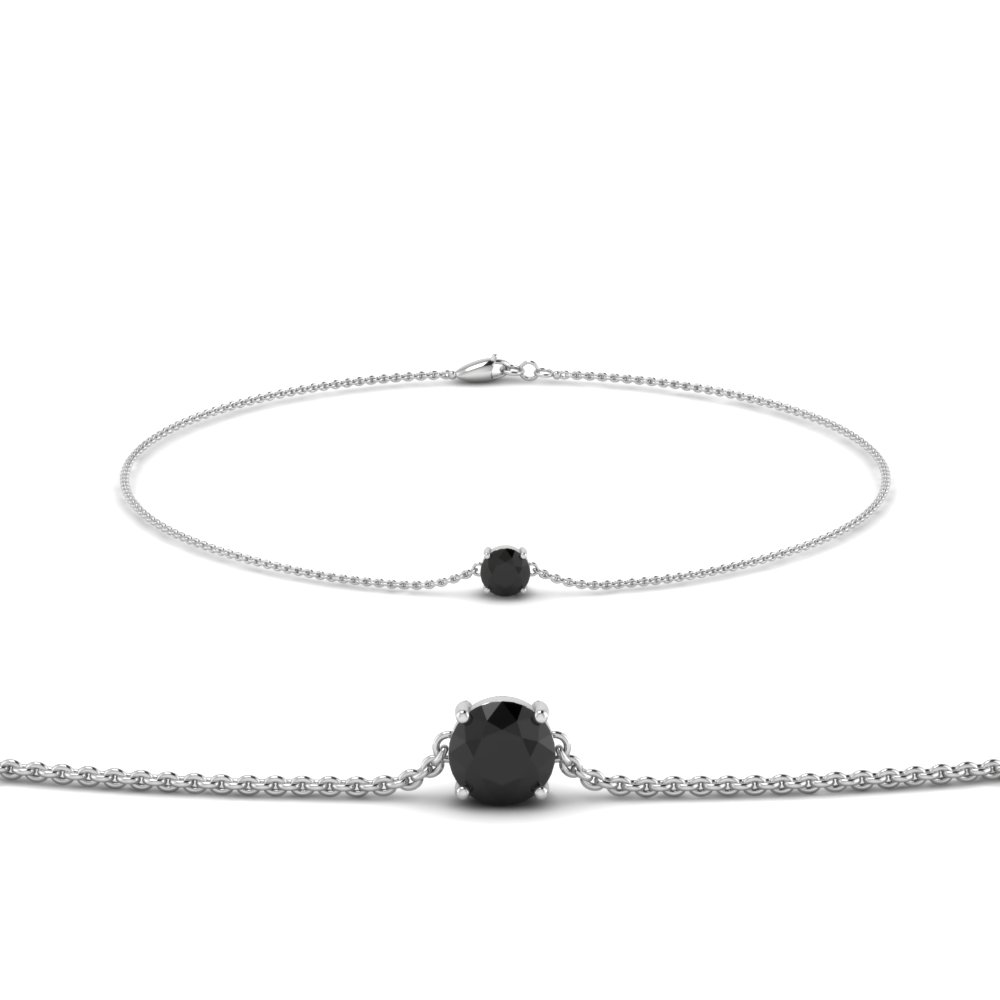 round black diamond chain bracelet in FDBRC8656ROGBLACK NL WG