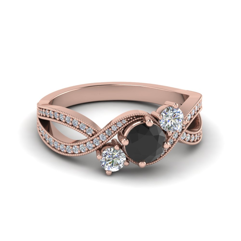 Milgrain Black Diamond Engagement Ring