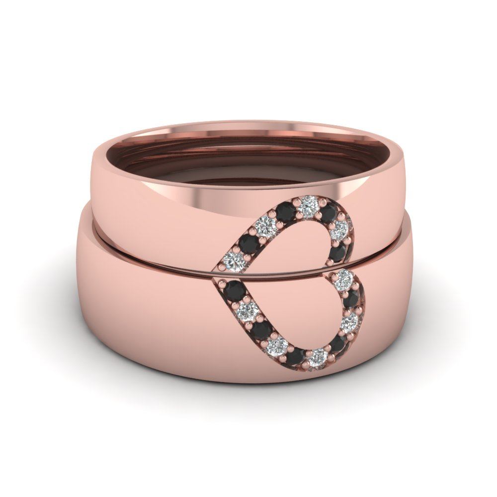 Womens Wedding Bands With Black Diamond In 14k Rose Gold