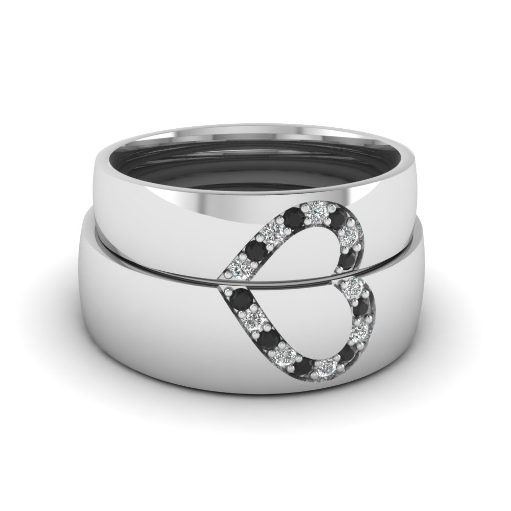 his and her matching wedding band with black diamond in FD1144BGBLACK NL WG