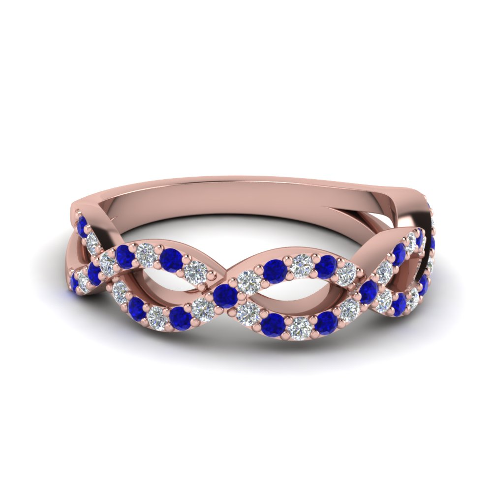 infinity twist diamond wedding band with sapphire in FD1078BGSABL NL RG