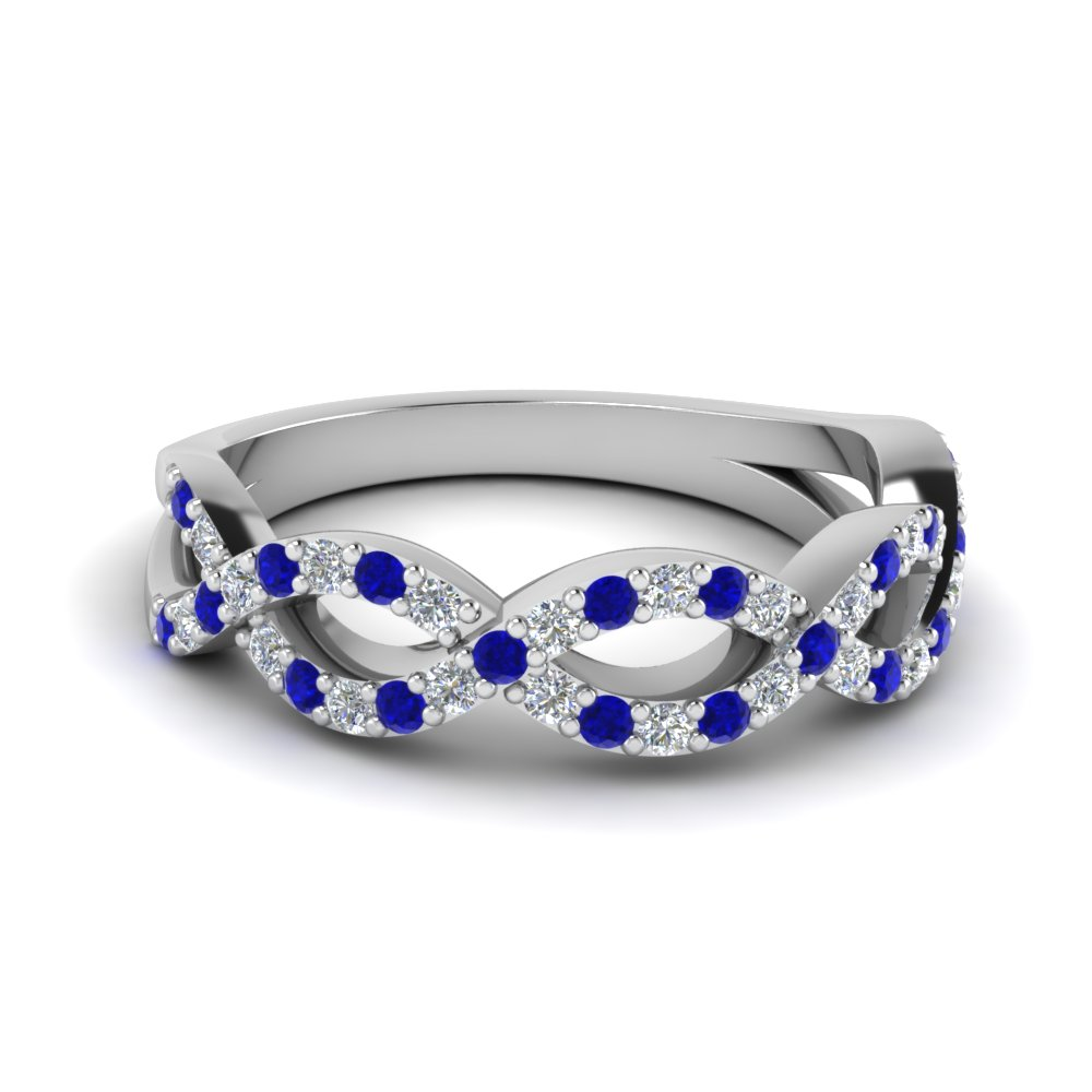 Infinity Twist Wedding Sapphire Band