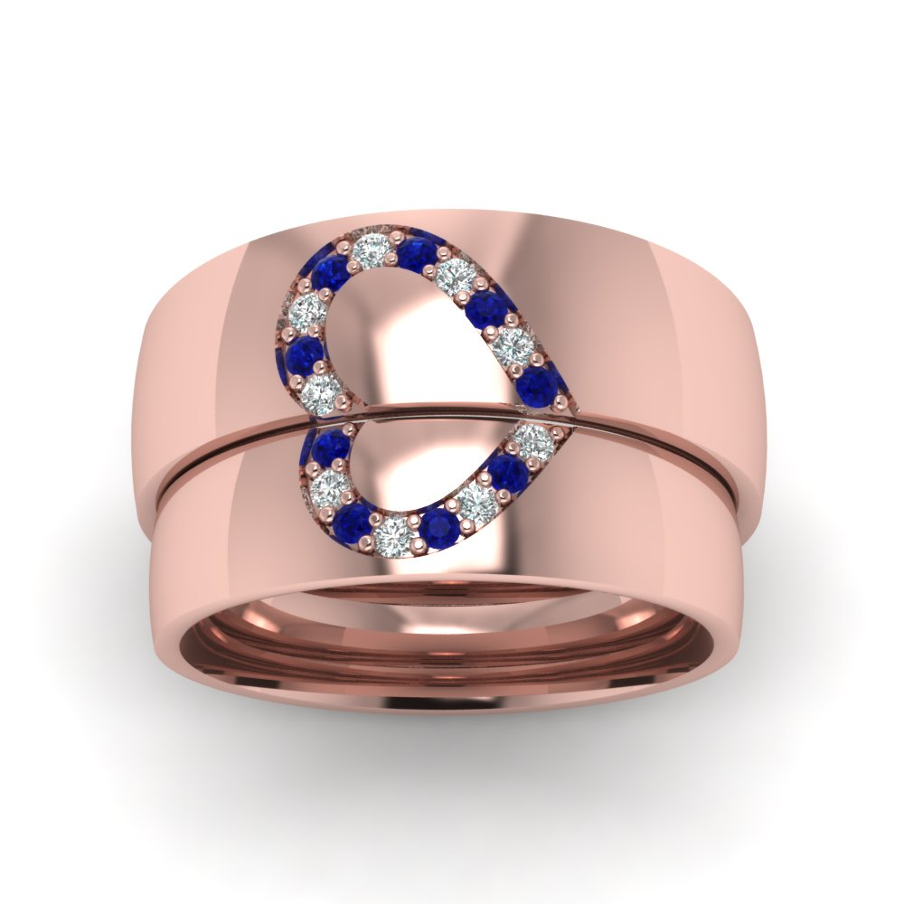 His And Her Diamond Matching Band With Sapphire In 14K Rose Gold ...