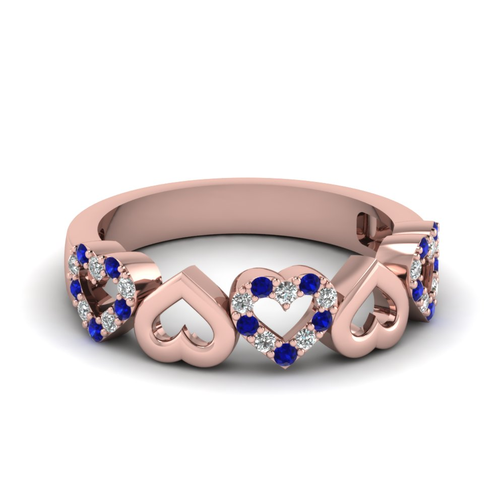 heart design diamond wedding band with sapphire in FD1146BGSABL NL RG