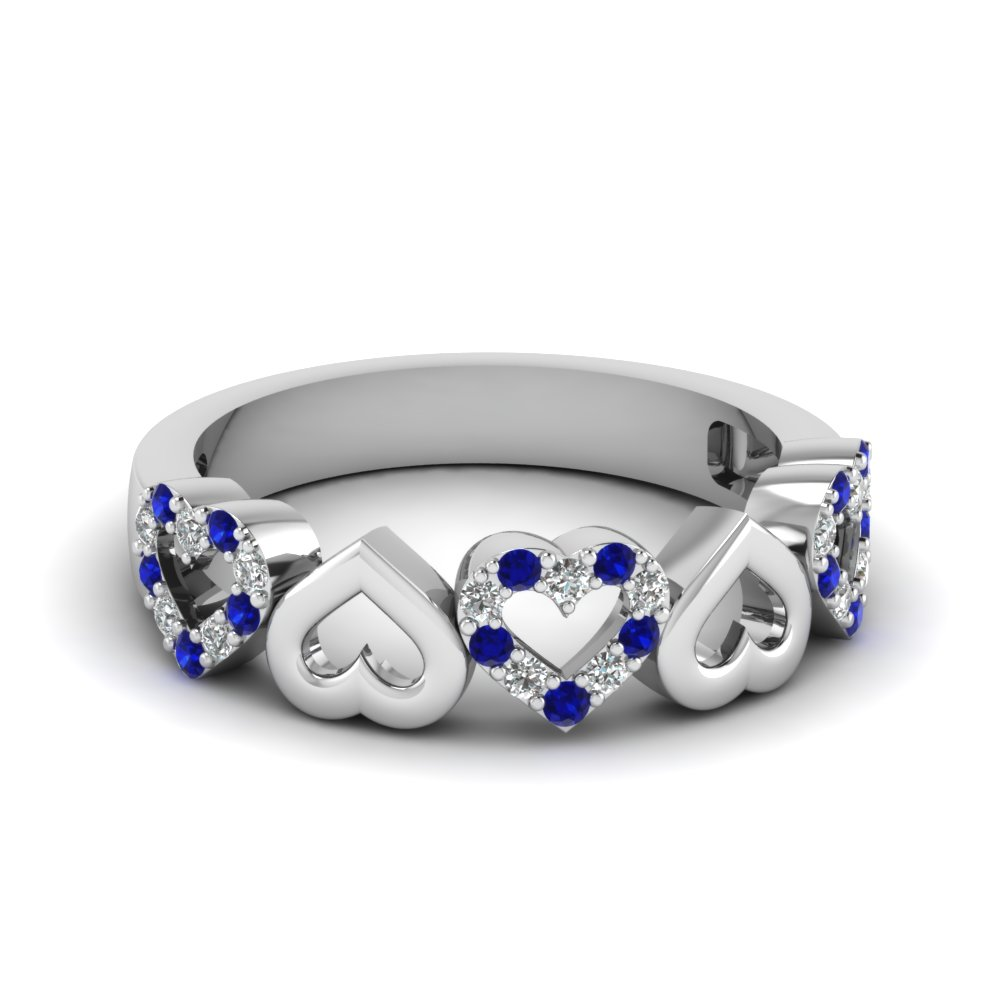 Heart Blue Sapphire Wedding Band