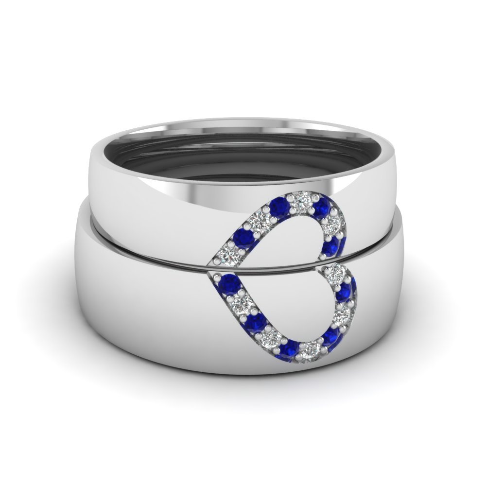 Round Blue Sapphire Wedding Band With White Diamond