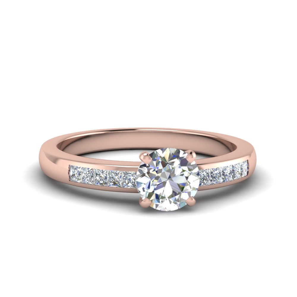 round channel princess cut diamond enagagement ring in  FDENS3016ROR NL RG
