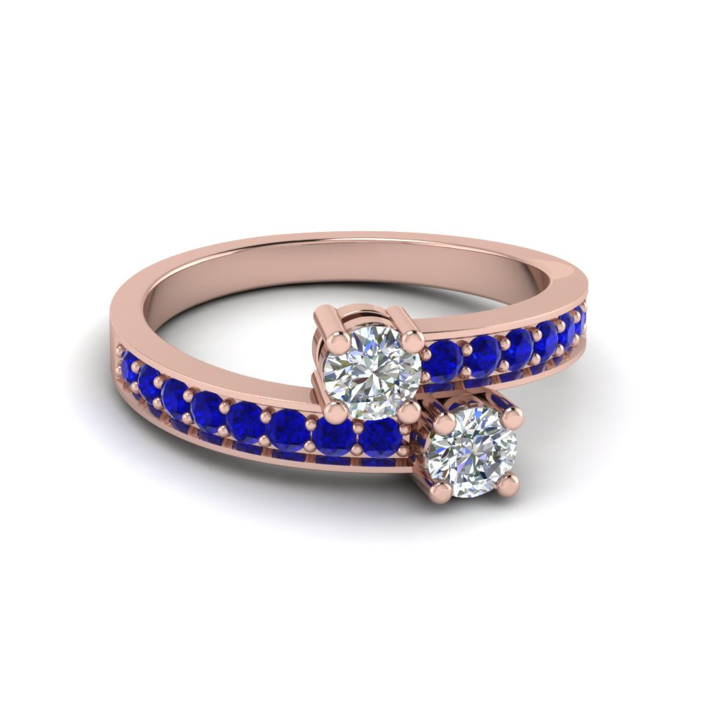 round cut 2 stone blue sapphire rings in 14K rose gold FDFR5090RORGSABL NL RG