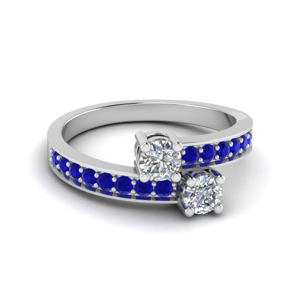 Round Cut 2 Stone Blue Sapphire Rings In 14K White Gold