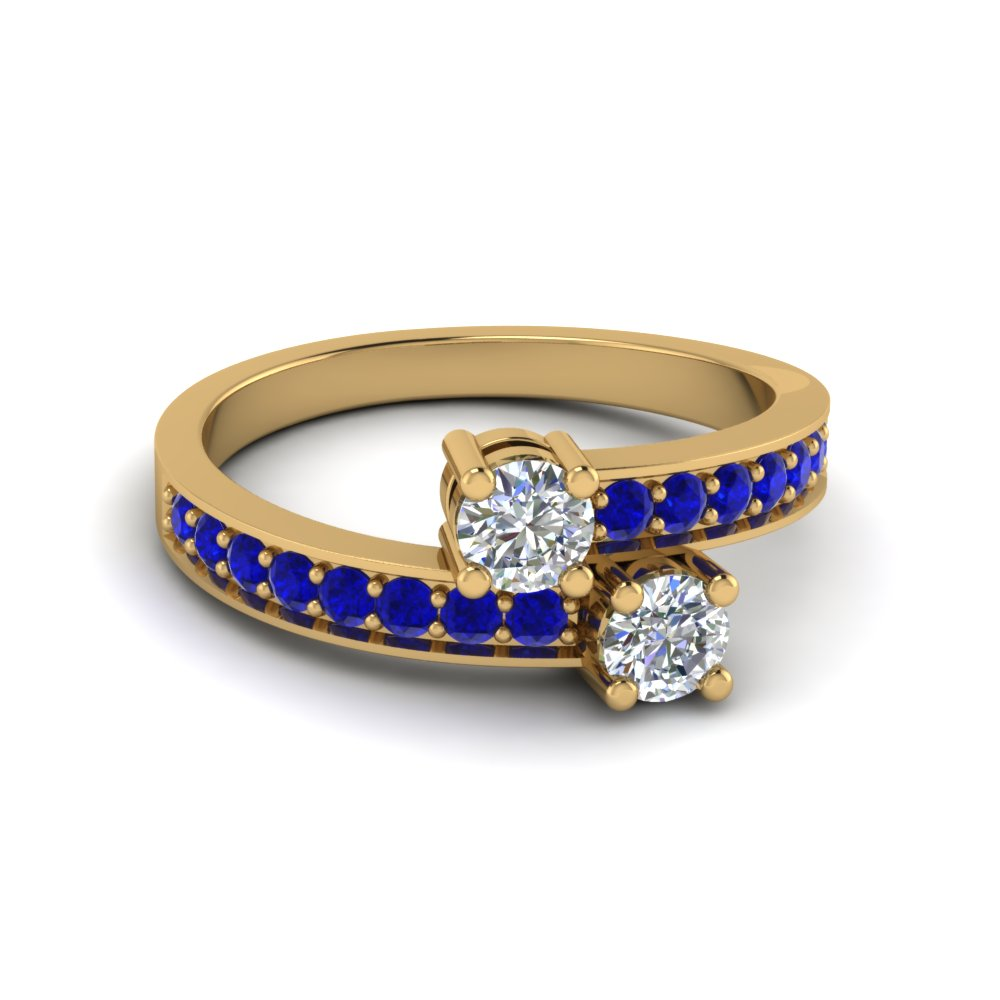 Two Stone Crossover Diamond and Sapphire Engagement Ring in Yellow Gold