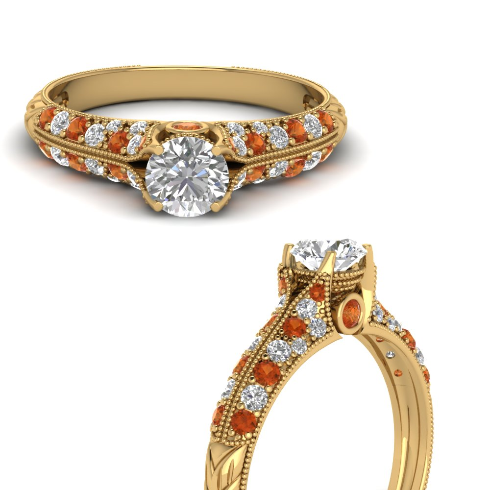 round cut 2 row milgrain diamond engagement ring with orange sapphire in FDENR6253RORGSAORANGLE3 NL YG.jpg