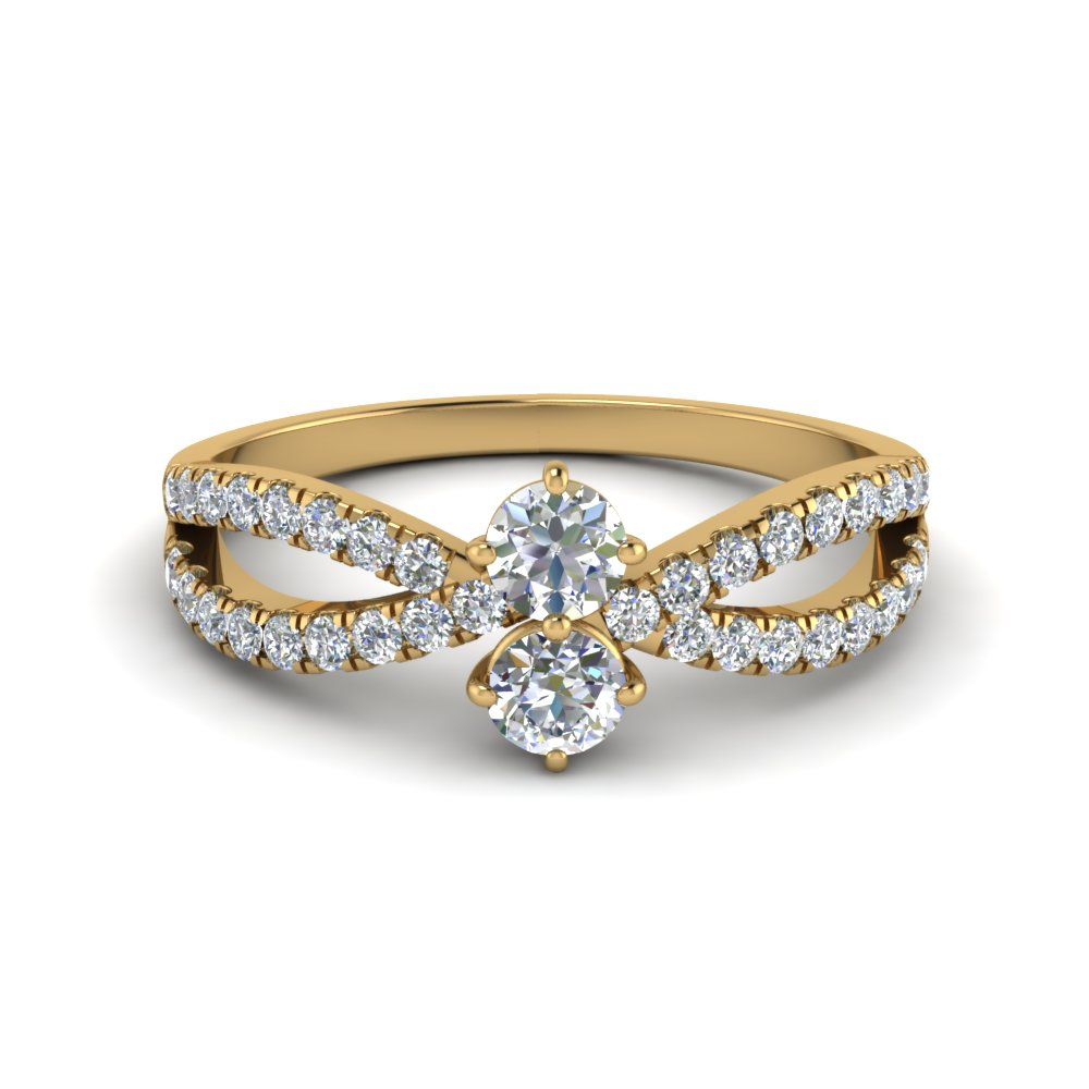 Round Cut 2 Stone Reversed Shank Diamond Engagement Ring In 14K Yellow Gold