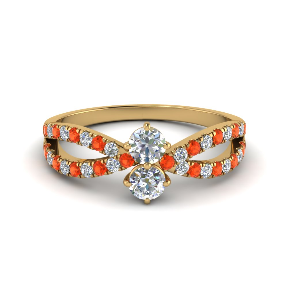 Round Diamond Ring With Orange Topaz