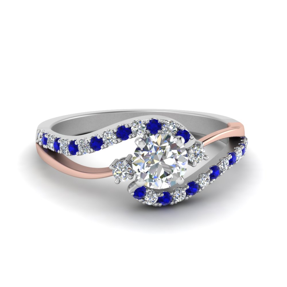 2 Tone Blue Sapphire Engagement Ring For Her