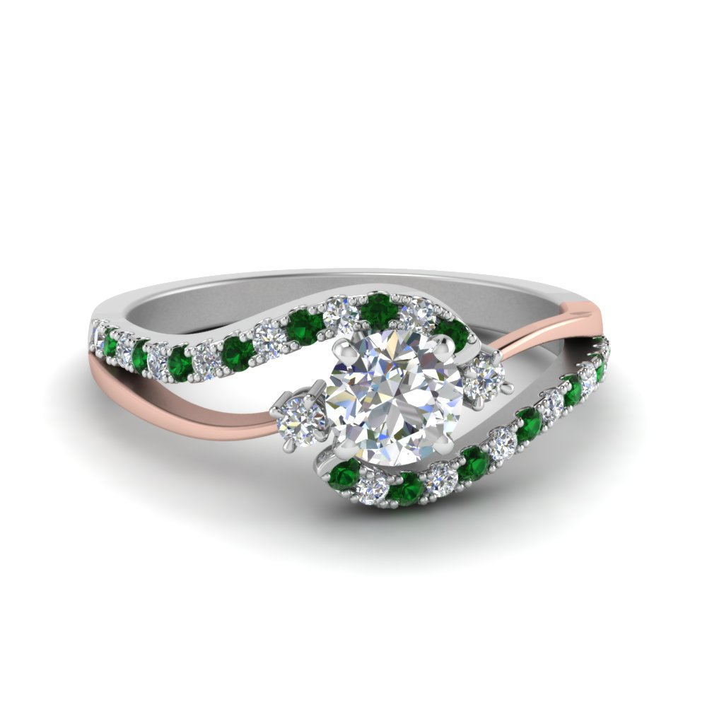 round cut 2 tone 3 stone diamond swirl engagement ring with emerald in FDO50895RORGEMGR NL WG