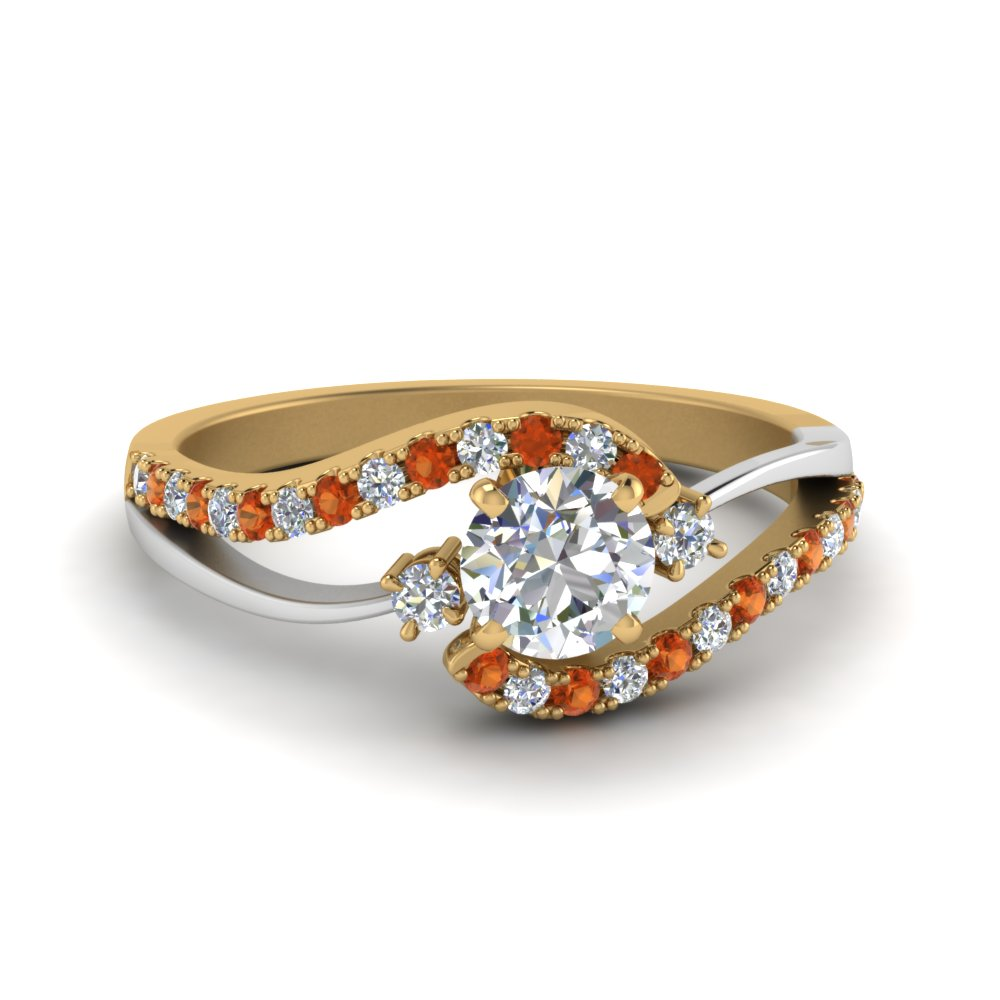round cut 2 tone 3 stone diamond swirl engagement ring with orange sapphire in FDO50895RORGSAOR NL YG