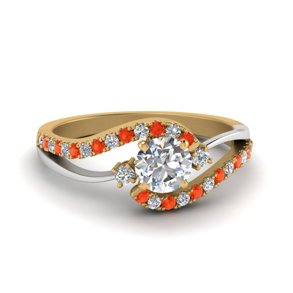 Swirl Two Tone Ring With Diamond And Topaz