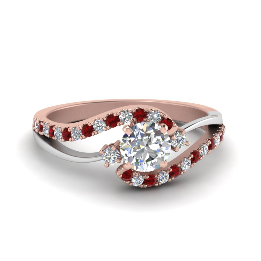 round cut 2 tone 3 stone diamond swirl engagement ring with ruby in FDO50895RORGRUDR NL RG
