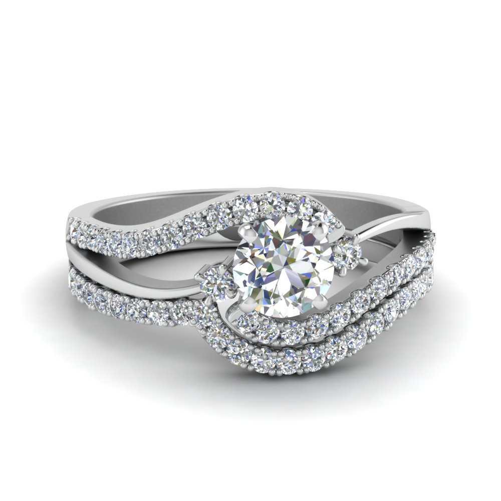 Split Diamond Wedding Ring Set