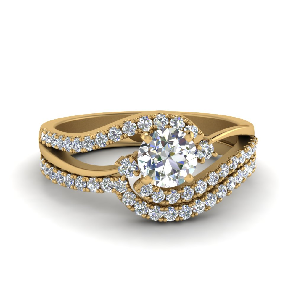 Swirl Diamond Bridal Ring Set