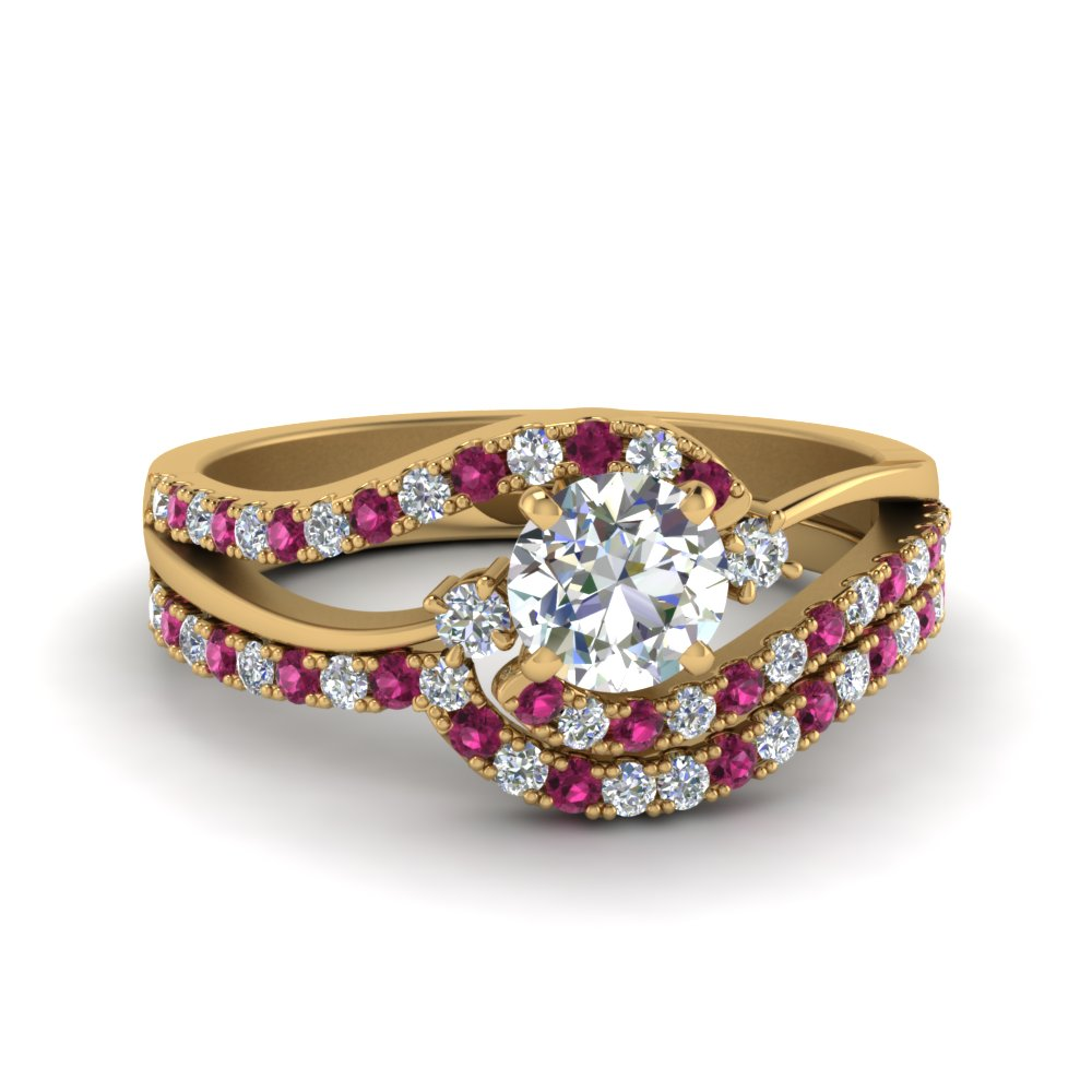 round cut 3 stone moissanite swirl bridal set with pink sapphire in FDOV50895ROGSADRPI NL YG