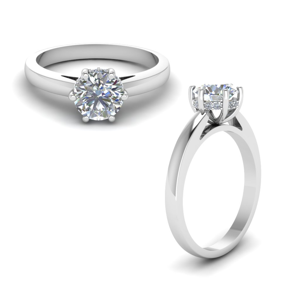studded diamond 6 prong engagement ring in FDENR8930RORANGLE1 NL WG