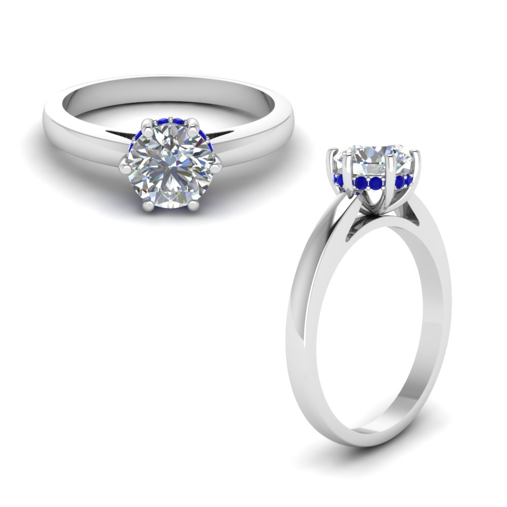studded diamond 6 prong engagement ring with sapphire in FDENR8930ROWGSABLANGLE1 NL WG