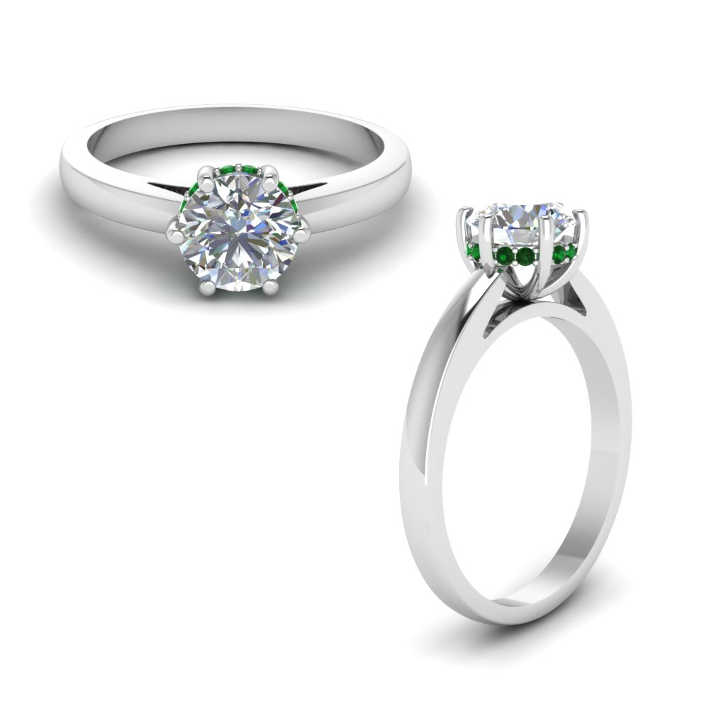 studded diamond 6 prong engagement ring with emerald in FDENR8930ROWGEMGRANGLE1 NL WG