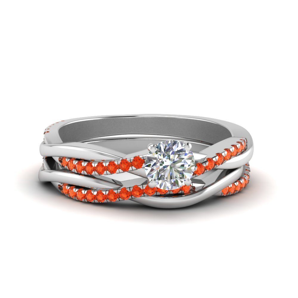 round cut Infinity twist diamond matching bridal set with orange topaz in FD8253ROGPOTO NL WG