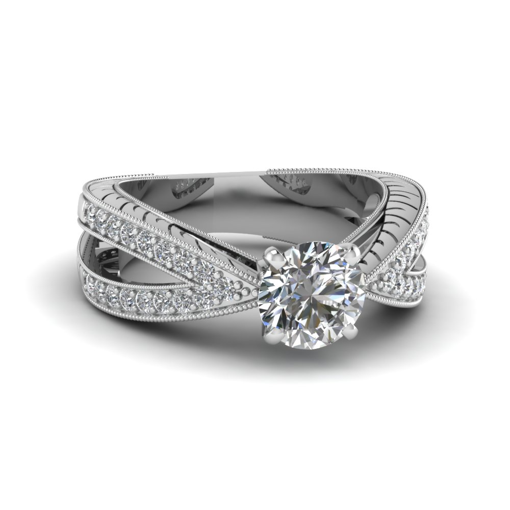 Pave Split Shank Ring