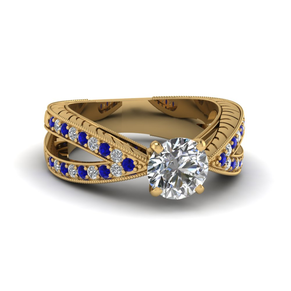 14k yellow gold blue sapphire vintage engagement rings