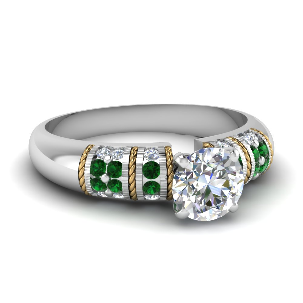 round cut antique 2 tone diamond engagement ring with emerald in FD62252RORGEMGR NL WG