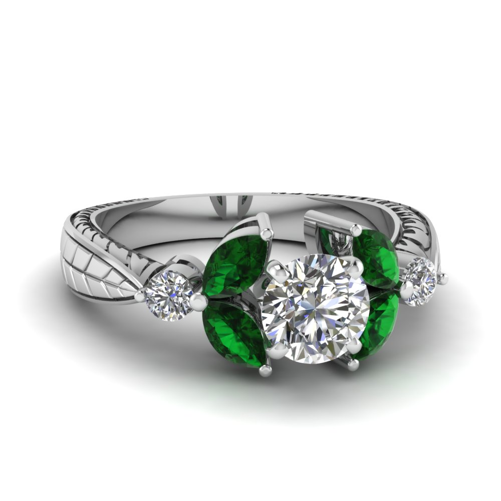 round cut antique petal diamond engagement ring with emerald in FDENR2562RORGEMGR NL WG