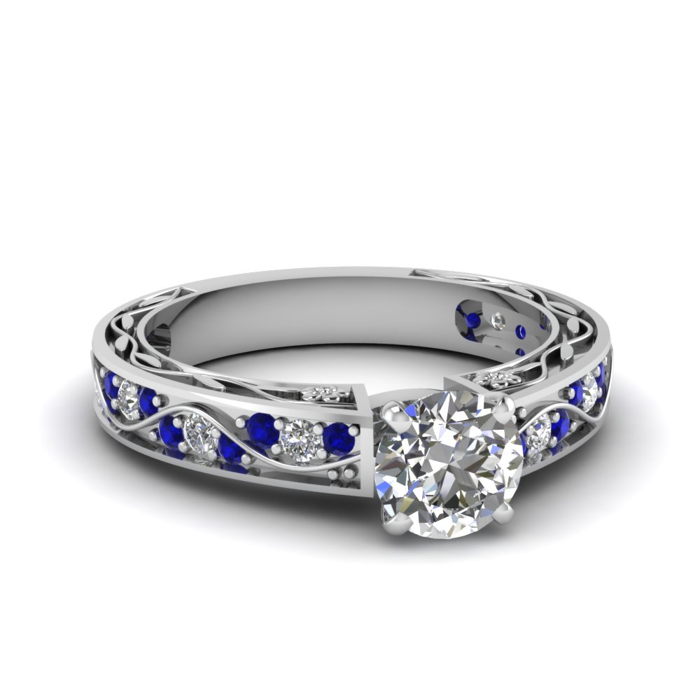 antique filigree round cut diamond engagement ring with sapphire in FDENS3543RORGSABL NL WG