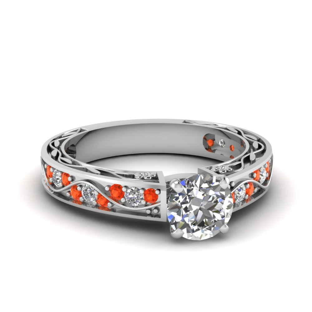 antique filigree round cut diamond engagement ring with orange topaz in FDENS3543RORGPOTO NL WG