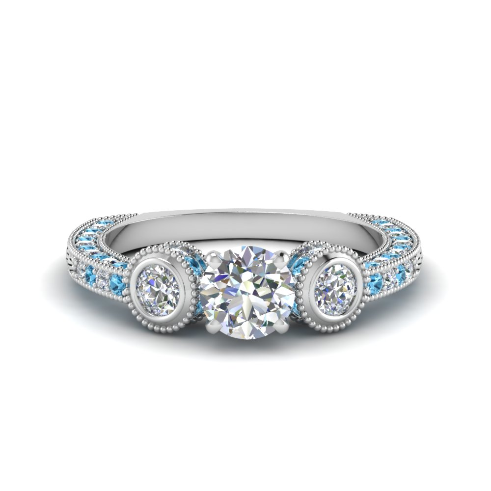 round cut antique looking pave lab diamond engagement ring with blue topaz in FDENR6182RORGICBLTO NL WG.jpg