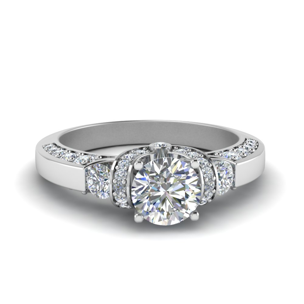 round cut antique pave diamond engagement ring one carat