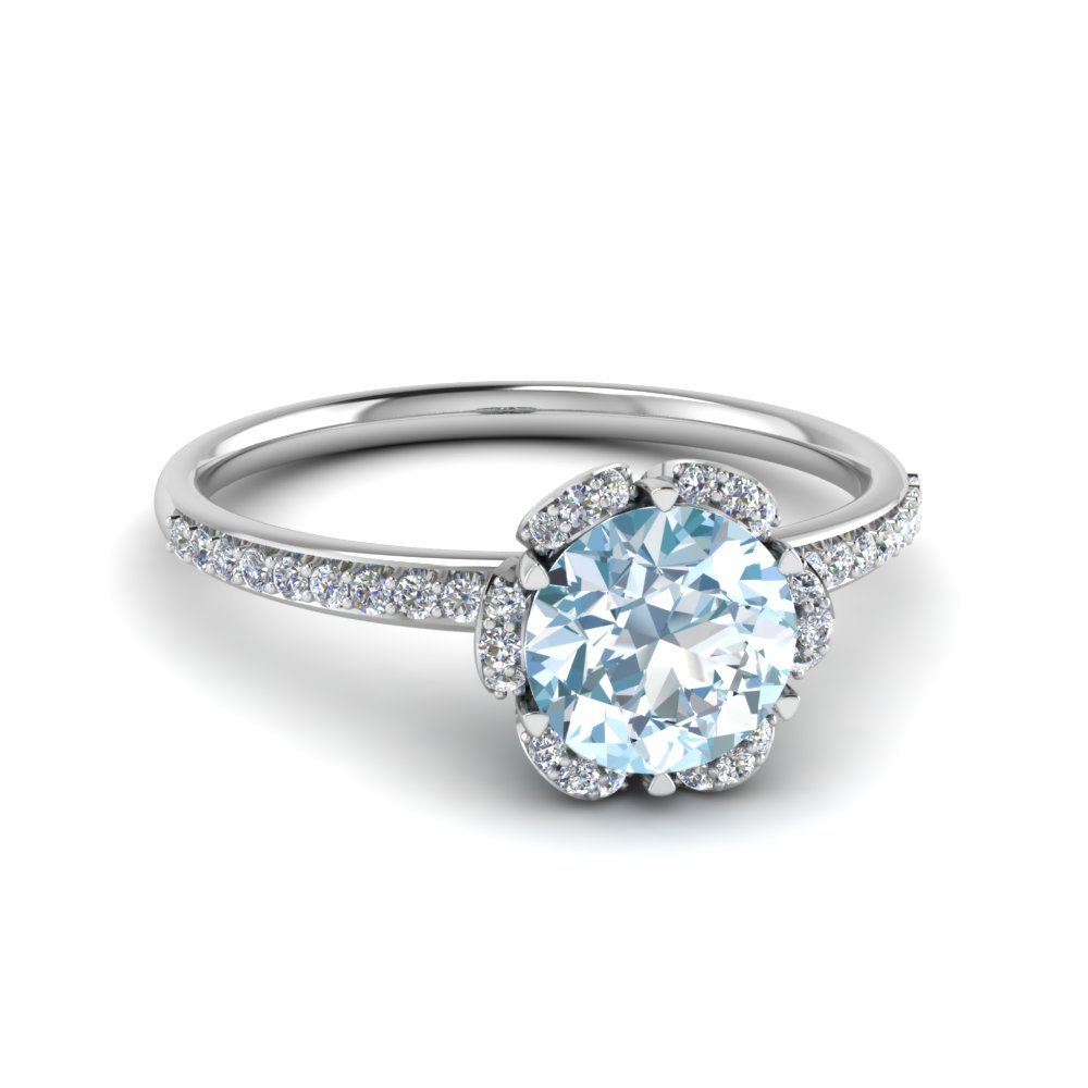 aqua engagement angle vintage shoulders stepped with rings ring aquamarine and baguette diamond