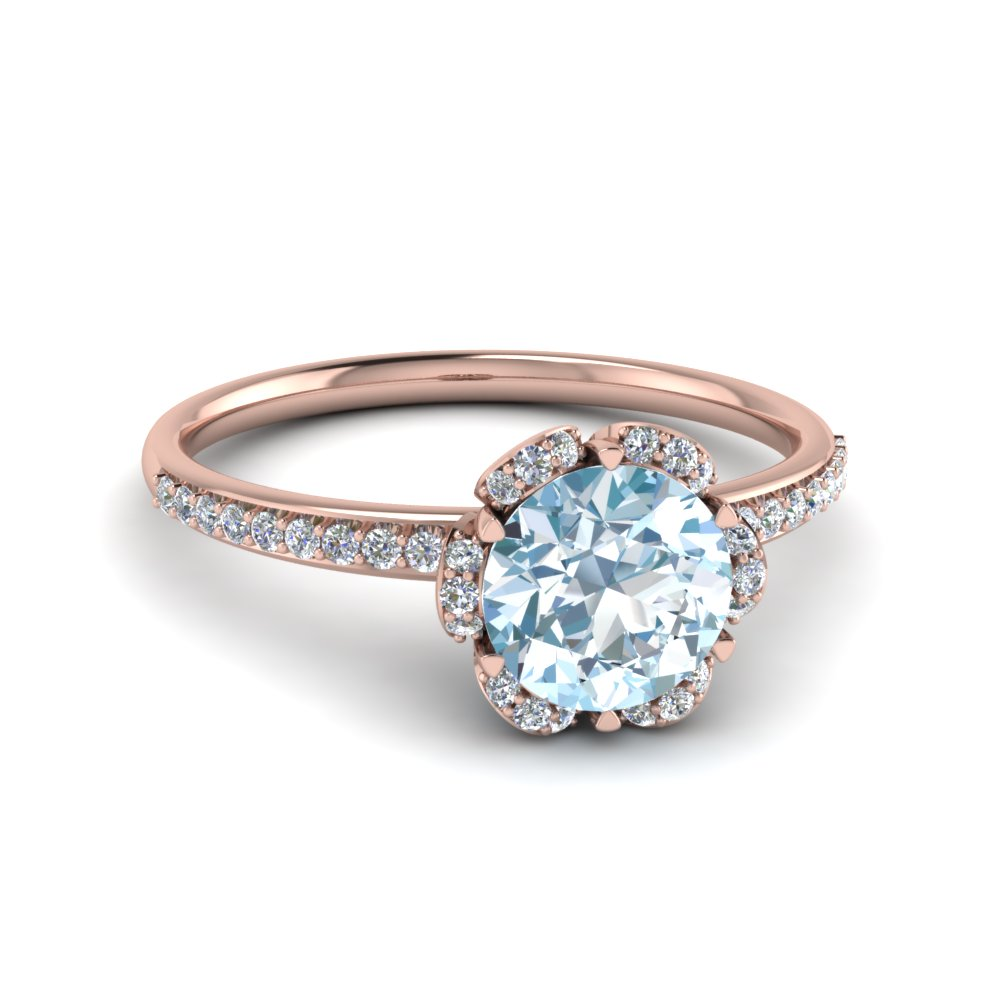 floral halo aquamarine engagement ring in 18K rose gold FD121997RORGAQ NL RG