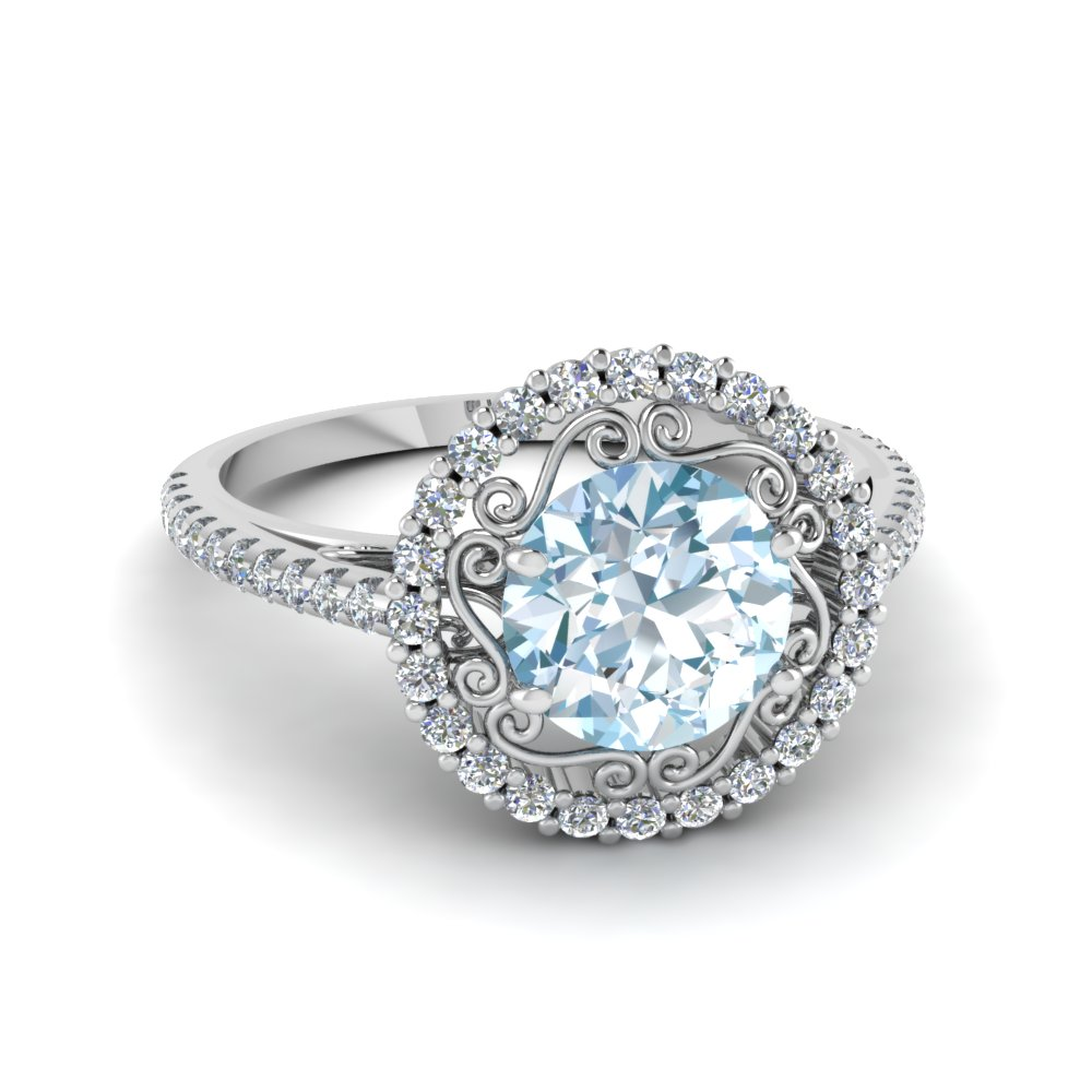 round cut aquamarine halo colored engagement ring in 14K white gold FD68924RORGAQ NL WG