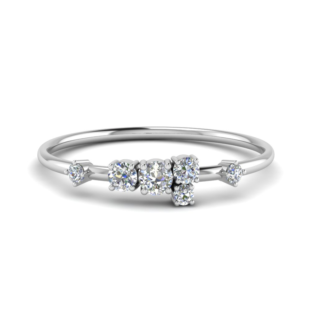 round cut asymmetrical diamond engagement ring in 14K white gold FD8354ROR NL WG